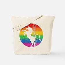 Retro Unicorn Rainbow Tote Bag