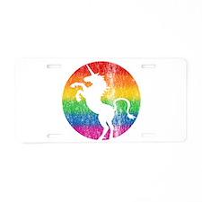 Retro Unicorn Rainbow Aluminum License Plate
