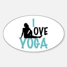 I Love Yoga Sticker (Oval)