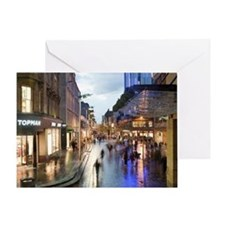 Sauchiehall Street in Glasgow at nig Greeting Card