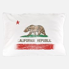 Distressed California Republic State Flag Pillow C