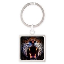 Electrified Tiger Square Keychain