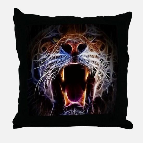 Electrified Tiger Throw Pillow