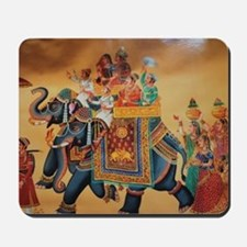 INDIAN ROYALTY ON ELEPHANTS Mousepad