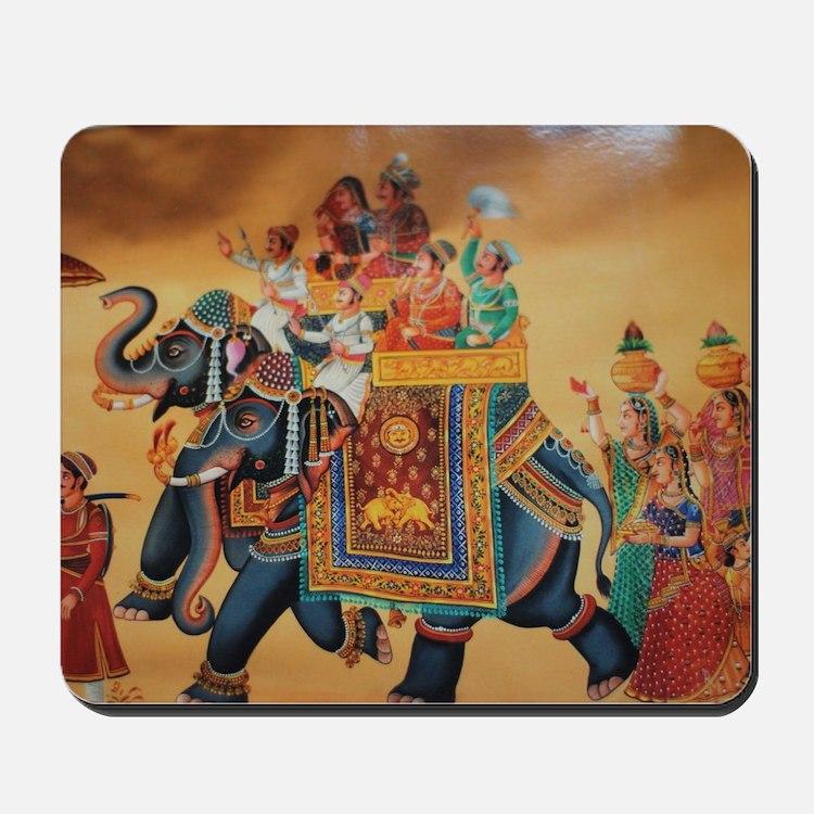 INDIAN ROYALTY ON ELEPHANTS Mousepad