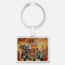 INDIAN ROYALTY ON ELEPHANTS Landscape Keychain