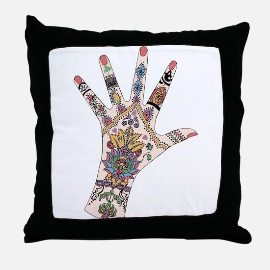 DRs Mehndi hand Throw Pillow