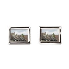 Row of quaint stone cottages Rectangular Cufflinks