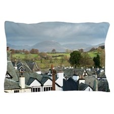 Panoramic view of Hawkshead in Cumbria Pillow Case