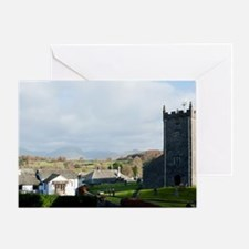 Old stone church and cottages in Haw Greeting Card