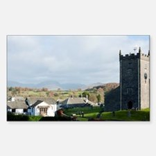 Old stone church and cottages  Decal