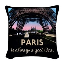 Paris France Woven Throw Pillow