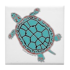 Turtle in Turquoise Tile Coaster