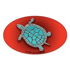 Turtle in Turquoise Oval Decal