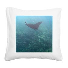 gliding manta ray Square Canvas Pillow