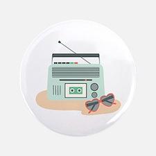 "Music Stereo Sunglasses Beach Summer 3.5"" Button ("