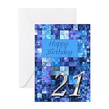 21st Birthday card Digital Art Squares Greeting Ca