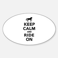 Keep calm and ride on horse Sticker (Oval)