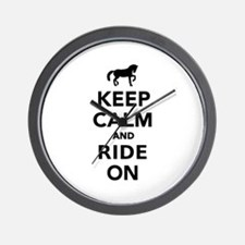 Keep calm and ride on horse Wall Clock