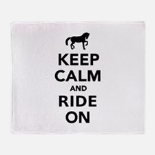 Keep calm and ride on horse Throw Blanket