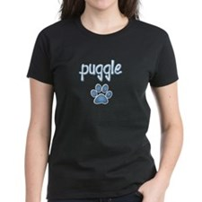 word Puggle with a paw print Tee