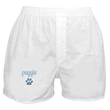 word Puggle with a paw print Boxer Shorts