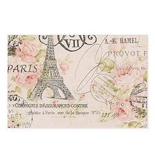 pink floral elegant paris Eiffel tower art Postcar