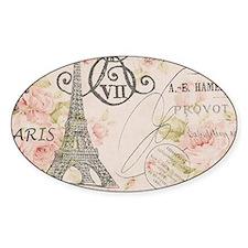pink floral elegant paris Eiffel tower art Decal