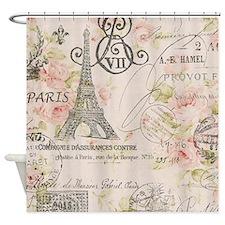 pink floral elegant paris Eiffel tower art Shower