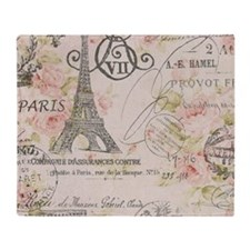 pink floral elegant paris Eiffel tower art Throw B