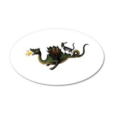 Steampunk Cat Riding A Drago 20x12 Oval Wall Decal
