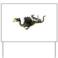 Steampunk Cat Riding A Dragon Yard Sign