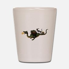 Steampunk Cat Riding A Dragon Shot Glass