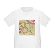 yellow floral elegant paris Eiffel tower art T-Shi