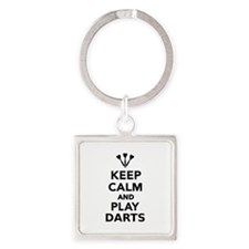 Keep calm and play Darts Square Keychain