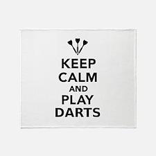 Keep calm and play Darts Throw Blanket