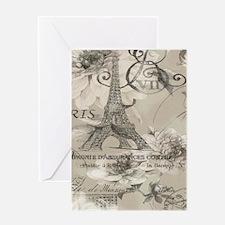 cream floral elegant paris Eiffel tower art Greeti