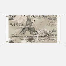 cream floral elegant paris Eiffel tower art Banner