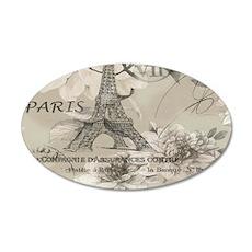 cream floral elegant paris Eiffel tower art Decal