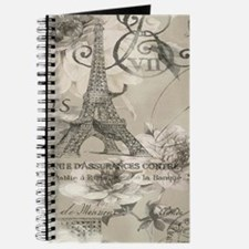 cream floral elegant paris Eiffel tower art Journa