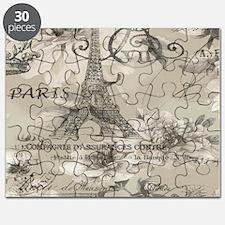 cream floral elegant paris Eiffel tower art Puzzle