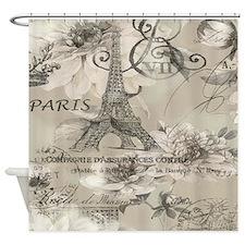 cream floral elegant paris Eiffel tower art Shower