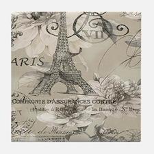 cream floral elegant paris Eiffel tower art Tile C