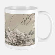 cream floral elegant paris Eiffel tower art Mugs