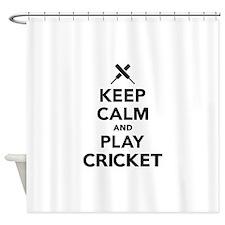 Keep calm and play Cricket Shower Curtain
