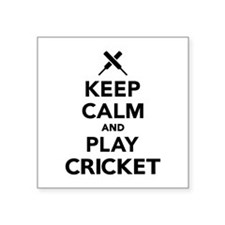 "Keep calm and play Cricket Square Sticker 3"" x 3"""