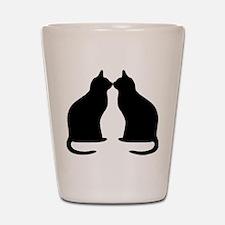 Black cats silhouette Shot Glass