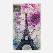 floral paris eiffel tower art 3'x5' Area Rug