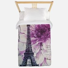 floral paris eiffel tower art Twin Duvet