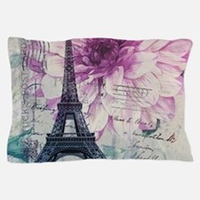 floral paris eiffel tower art Pillow Case